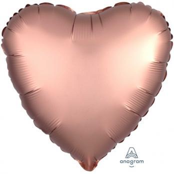 Шар фольга Сердце 45см. Сатин Розовое золото