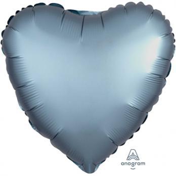 Шар фольга Сердце 45см. Сатин Серо-синий