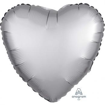 Шар фольга Сердце 45см. Сатин Серебро