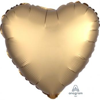 Шар фольга Сердце 45см. Сатин Золото