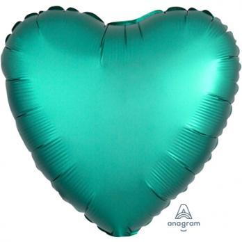 Шар фольга Сердце 45см. Сатин Бирюза