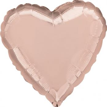 Шар фольга Сердце 45см. Металлик Розовое золото
