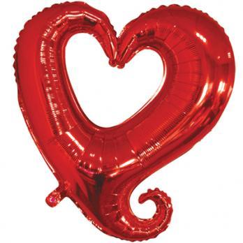 Шар фольга Сердце 90см. Вензель Красный