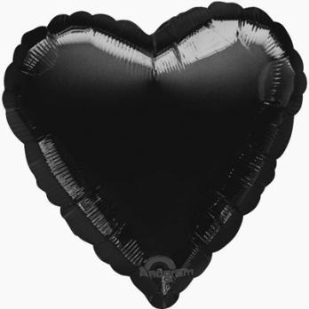 Шар фольга Сердце 45см. Пастель Черный
