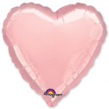 """Шар фольга """"Сердце 45см. Металлик Розовый"""""""