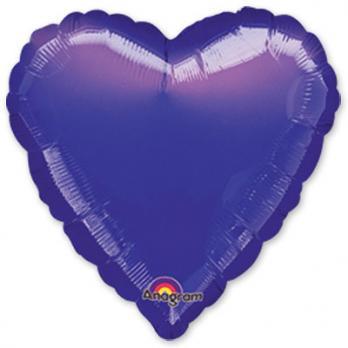 Шар фольга Сердце 45см. Металлик Фиолетовый