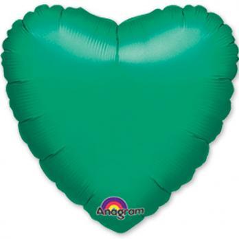 Шар фольга Сердце 45см. Металлик Зеленый