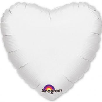 Шар фольга Сердце 45см. Пастель Белый