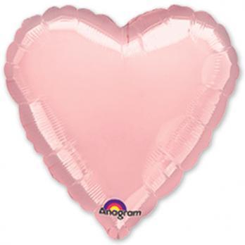 """Шар фольга """"Сердце 45см. Пастель Розовый"""""""