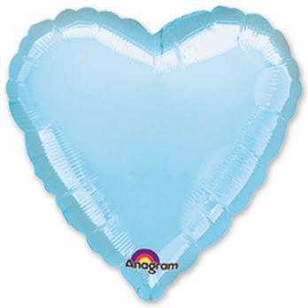 Шар фольга Сердце 45см. Пастель Синий
