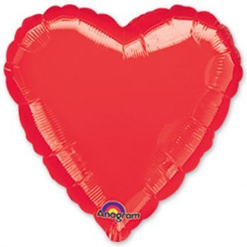 Шар фольга Сердце 45см. Металлик Красный