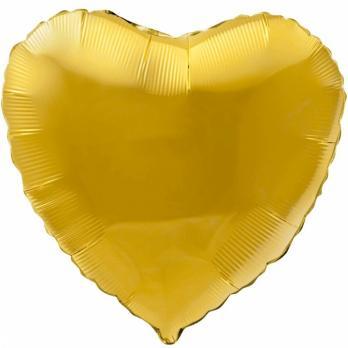 Шар фольга Сердце 45см. Металлик Золото
