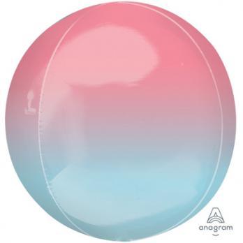 Шар фольга Сфера 40см. розово-синий