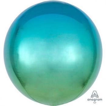 Шар фольга Сфера 40см. Зелено-голубой