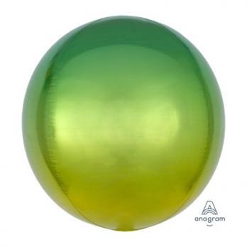 Шар фольга Сфера 40см. Желто-зеленый