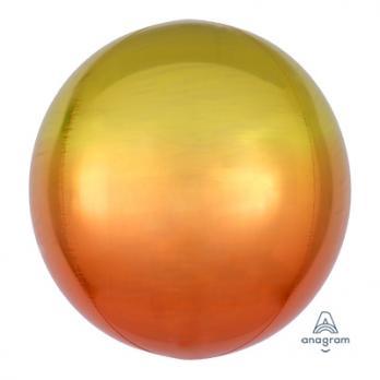 Шар фольга Сфера 40см. Желто-оранжевый