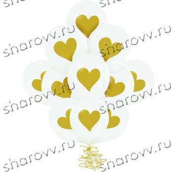 Шары латекс Сердце золотое