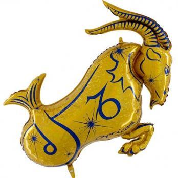Шар фольга Зодиак Козерог золотой