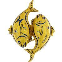 Шар фольга Зодиак Рыбы золотой