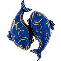 Шар фольга Зодиак Рыбы синий
