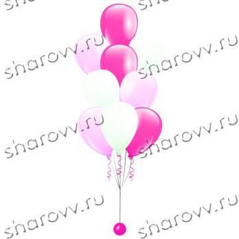 Фонтан из шаров Розово-белый