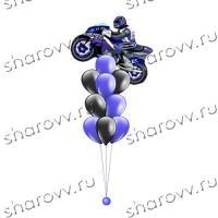 """Фонтан из шаров """"Синий мотоцикл"""""""