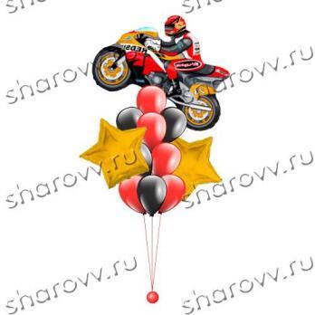 Фонтан из воздушных шаров Звездный моточас красный