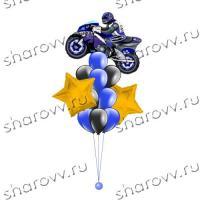 Фонтан из шаров Звездный моточас синий