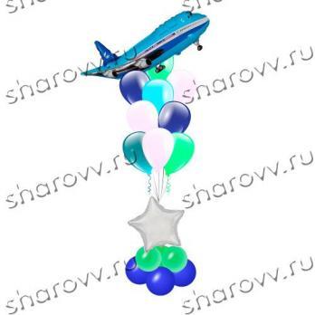 """Фонтан из шаров """"Звездный самолет"""""""