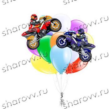 """Букет из воздушных шаров """"Мотогонки"""""""
