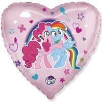 Шар сердце фольга Пони объятия