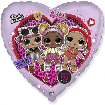 Шар фигура фольга Куклы ЛОЛ в сердце
