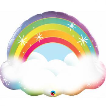 Шар фигура фольга Радуга в облаках