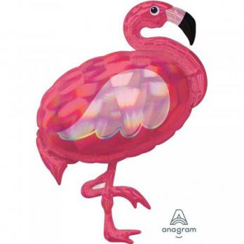 Шар фигура фольга Фламинго переливы перламутр