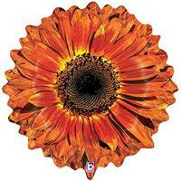 Шар фигура фольга Цветок Гербера оранжевая