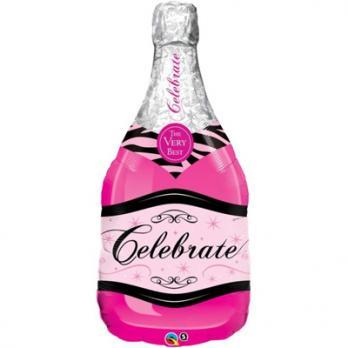 Шар фигура фольга Бутылка шампанского розовая