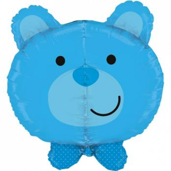 "Шар фигура фольга ""Голова медвежонка мальчика"""