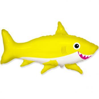 Шар фигура фольга Акула веселая желтая
