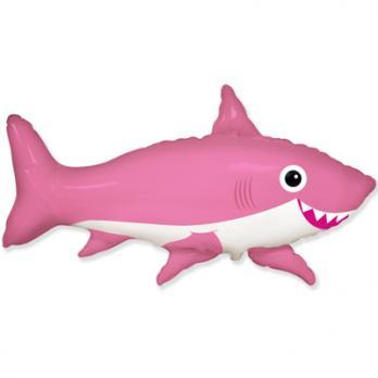 "Шар фигура фольга ""Акула веселая розовая"""