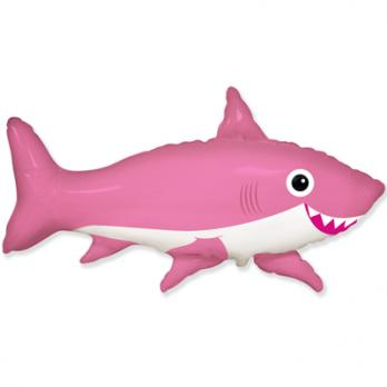 "Шар фигура фольга Акула веселая розовая"""