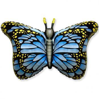 """Шар фигура фольга Бабочка крылья голубые"""""""