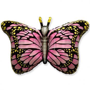 """Шар фигура фольга """"Бабочка крылья розовые"""""""
