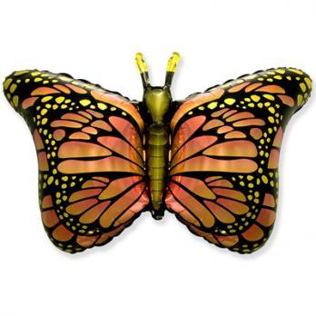 Шар фигура фольга Бабочка крылья оранжевые