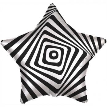 Шар звезда фольга Иллюзия черно-белая