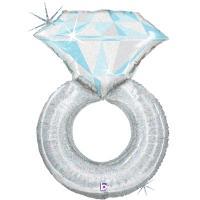 Шар фигура фольга Кольцо с бриллиантом голография
