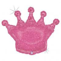 Шар фигура фольга Корона розовая голография