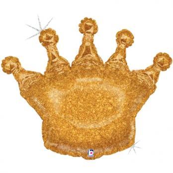 """Шар фигура фольга """"Корона золотая голография"""""""
