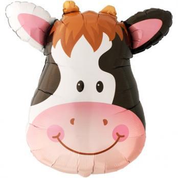 Шар фигура фольга Корова голова большая