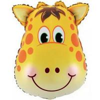 Шар фигура фольга Жираф голова большая