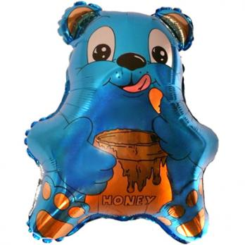 Шар фигура фольга Медвежонок синий